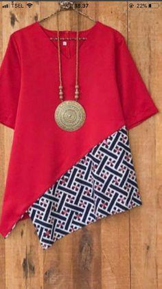 Contrasting colour looks good. Batik Fashion, Diy Fashion, Ideias Fashion, Fashion Dresses, Fashion Fall, Trendy Fashion, Fashion Design, Blouse Batik, Batik Dress