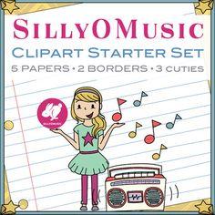 Super cute clipart starter set FREEBIE! 5 digital papers, 2 clip art borders, 3 cuties! #sillyomusic