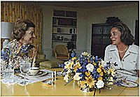 Photograph of Betty Ford and Mrs. Nelson A. (Happy) Rockefeller Talking in the Solarium, 08/22/1974