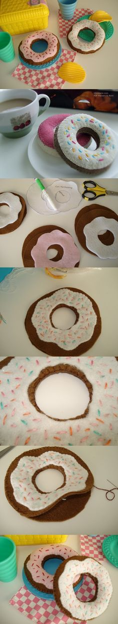 Free Felt Donut pattern (pattern by ithinksew.com) Would love to make a large one for my dog :)