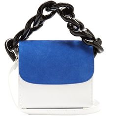 Marques Almeida Oversized curb-chain leather shoulder bag (€500) ❤ liked on Polyvore featuring bags, handbags, shoulder bags, leather shoulder bag, blue leather handbags, genuine leather handbags, shoulder hand bags and two tone leather handbags