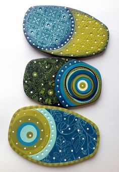 polymer clay pendants, screenprinting