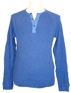 Lucky Brand Mens Shirt Thermal Henley Waffle Knit Cotton Blue XXL 2XL NEW $59.50 #LuckyBrand #Henley