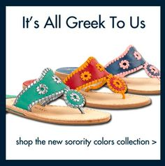 sorority collection by jack rogers    http://www.jackrogersusa.com/college-colors/sorority-colors/