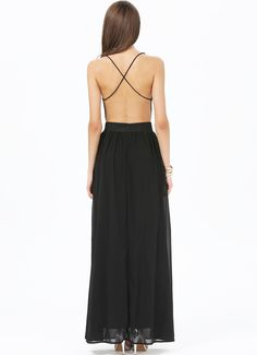 Black Spaghetti Strap Backless Full Length Dress