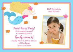 Mermaid Photo Birthday Invitation Custom by PhotoInvitations, $1.50