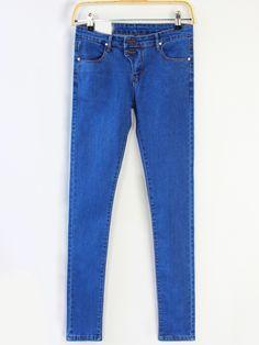 Blue Slim Denim Pant   -SheIn