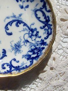 Vintage Flow Blue Plate York Pattern Cauldon England by glassing,