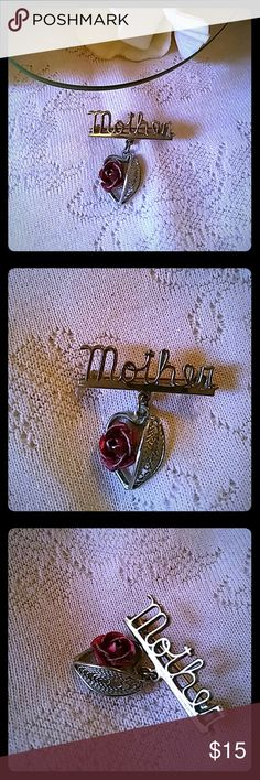 Vintage Mother Pin with Heart Dangle Gold tone pin/brooch with red enamel rose on heart dangle. Perfect gift for mom or new mom any time of year. Jewelry Brooches