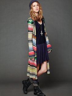 NWOT $168 Hooded Color Spectrum Sarape Long Cardigan Free People M #FreePeople #Sweatercoat