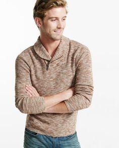 marled cotton zip shawl collar sweater