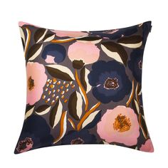 Rosarium Cushion Cover in dark grey, yellow, dark blue – Bolt of Cloth Knitted Cushions, Cushions To Make, Brighton Shops, Marimekko Fabric, African Textiles, Japanese Patterns, Textile Patterns, Floral Patterns, Textile Artists