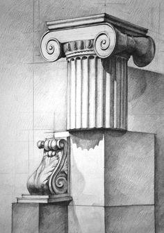 Architecture Antique, Architecture Concept Drawings, Architecture Art, Cool Art Drawings, Art Sketches, Academic Drawing, Arte Tribal, Roman Art, Stencil Painting