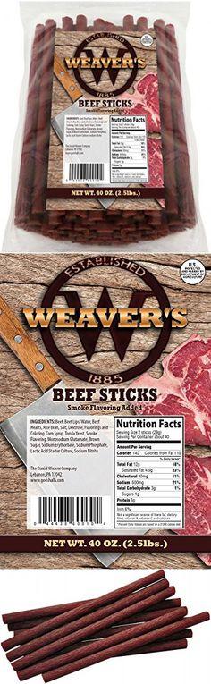 "Weaver's Beef Sticks (80 original mild flavored 6.5"" beef sticks per 40oz bag)"