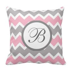 Personalized Monogram Pink Grey Chevron Pillow for baby girl nursery shower gift #decampstudios