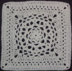 Chris Simon's Mandala pattern - 12 inch crochet square - i have seen a throw made in slate grey of these squares it looks fantastic!