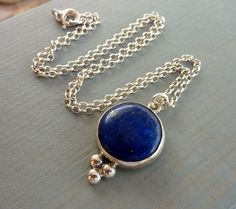Lapis Necklace Statement necklace Blue and gold Lapis by anakim