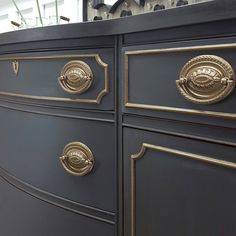 Beautiful buffet painted in Black and Brass