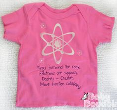 BABY LAPSHIRT GEEK Funny Quantum Physics Nursery Rhyme, Raspberry Pink - We All Fall Down With Science Not the Plague
