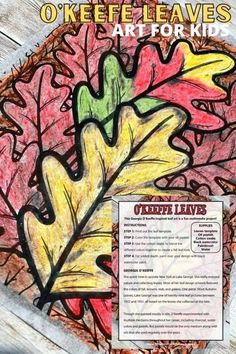 Combine the colors of fall with our free leaves printable to create a fun mixed media art project inspired by Georgia O'Keeffe Autumn Leaves. All you need are some watercolors, and a few oil pastels! Fall art activities for kids are a great way to explore art with kiddos of all ages at home or in the classroom. Art Activities For Kids, Art For Kids, Learning Activities, Kindergarten, Fall Arts And Crafts, Apple Painting, Calendar Time, Autumn Art, Autumn Leaves