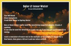 Make Your Own Solar Or Lunar Water