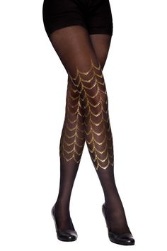 Black & gold cabaret tattoo tights available in S-M by SternTights