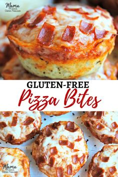 Gluten-free deep dish pizza bites are super easy to make. Perfect for lunch, a q… Gluten-free deep dish pizza bites are super easy to make. Perfect for lunch, a quick and easy dinner, as a snack or an appetizer for game-day or your next party. Pizza Sans Gluten, Gluten Free Pizza, Gluten Free Baking, Gluten Free Casserole, Gluten Free Bisquick Recipe, Gluten Dairy Free, Gluten Free Egg Rolls, Gluten Free Garlic Bread, Gluten Free Croissant