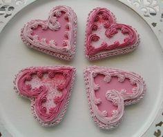 Beautiful heart valentine cookies
