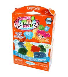 Makes 10+ mini gummies that are chewy, delicious and bursting with cherry, tropical punch and blue raspberry flavors. Includes 1 kitchen magic tray, 1 instruction sheet, 1 blue raspberry gummy packet,
