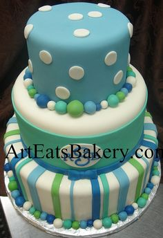 Three tier blue, white and green polka dot and stripe boys baby shower unique fonant cake with monogram and bow by arteatsbakery, via Flickr