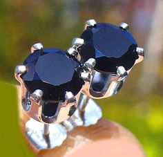 NEW Sterling Silver EARRINGS 6mm Facet/Cut 1ct each Top Quality Jet BLACK SPINEL #Handmade #Stud