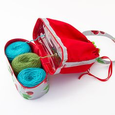 I love the Yarn Keeper Tote. The bottom compartment is the Double Yarn Keeper, which is below the larger top compartment, the tote. I would want it in Chic-a Pink. Yarn Organization, Yarn Storage, Yarn Bag, Fabric Yarn, Yarn Bombing, Yarn Projects, Knitting Accessories, Knitted Bags, Yarn Crafts