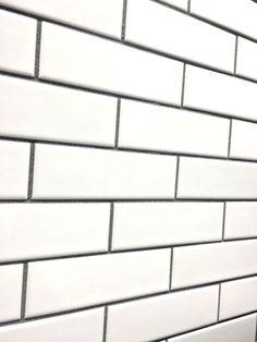 White Subway Tile Charcoal Grout White Grey Black