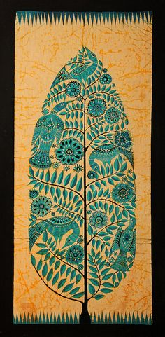 so organic => Bali (Indonesia) - Batik dell'Albero della vita (scan from diapo) Madhubani Art, Madhubani Painting, Batik Art, Batik Prints, Motif Vintage, Indonesian Art, Art Premier, Batik Pattern, Indian Folk Art