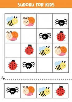 Sudoku game for preschool children. seashell and starfish. | Premium Vector Printable Alphabet Worksheets, Letter Worksheets For Preschool, Kindergarten Math Worksheets, Preschool Math, Tracing Worksheets, Have Fun Teaching, Fun Learning, Bug Activities, Educational Games For Kids