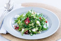 Quinoa salad with asparagus and feta. Low in fat and high in flavour, this quinoa salad is great for both dinner or lunch.