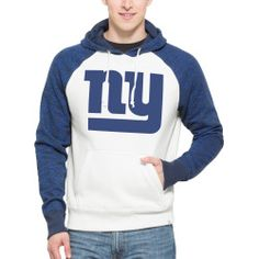 Mens New York Giants 47 Brand Natural Hashmark Pullover Hoodie