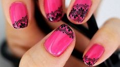 Every girl like pink nail art designs. Here are some collection pink nail art designs. Hope you like these pink nail art designs. Lace Nail Art, Lace Nails, Pink Nail Art, Henna Nails, Blue Nail, Nail Black, Silver Nail, Red Nail, How To Do Nails