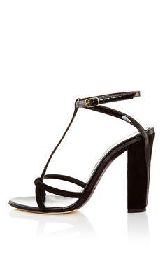 Patent Leather And Suede Lilia Sandal - Oscar de la Renta Resort 2016 - Preorder now on Moda Operandi