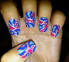 Pink and Blue Paisley Nails
