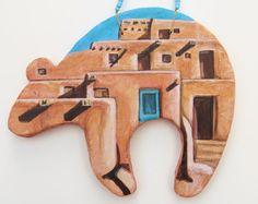 Taos pueblo bear Zuni style clay southwest art by MokiTradingPost
