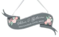 Personalized Chalk Floral Wedding Sign