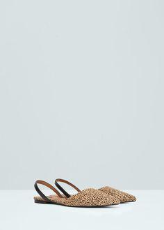 Кожаные туфли с открытой пяткой | MANGO МАНГО