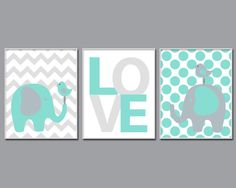 Elephant Nursery Art,  Suits Aqua and Grey Nursery Decor, Baby Boy or Girl Love Nursery Art -N1095,1096,1097-Unframed