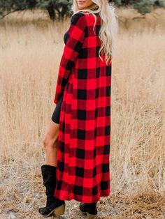 Casual Women Autumn Loose Plaid Long Sleeve Long Cardigans at Banggood Red And Black Plaid, Red Plaid, Long Sweaters, Cardigans For Women, Dresses With Leggings, Long Cardigan, Long Sleeve, Sleeves, Clothes For Women