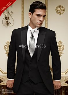 Wholesale Hot Sale Black Groom Tuxedos Notch Lapel Groomsmen Men Wedding Suits(JacketPantsTieVest)H550, Free shipping, $111.39/Piece | DHgate