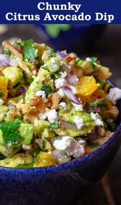 You will love this flavor-packed avocado dip with a Mediterranean twist! Rich avocados, combined with bright oranges, fresh herbs, feta and more. This would be super tasty on top of some grilled chicken! Healthy Dips, Healthy Appetizers, Healthy Recipes, Stay Healthy, Easy Recipes, Avocado Dip, Avocado Recipes, Mediterranean Diet Recipes, Mediterranean Dishes