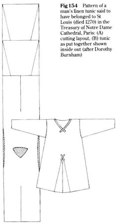 "13th century tunic ""Pattern of a man's linen tunic said to have behind to St. Louis (died 1270) in the treasury of Notre Dame Cathedral, Paris A) cutting lay out B) tunic as put together shown inside out (after Dorothy Burnham) - Sherts, Trewes, & Hose .i. :"""