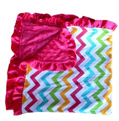 Hey, I found this really awesome Etsy listing at http://www.etsy.com/listing/167225510/rainbow-chevron-and-hot-pink-minky