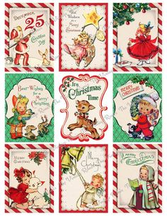 New vintage christmas tags diy etsy ideas Retro Christmas Decorations, Vintage Christmas Images, Vintage Holiday, Christmas Pictures, Vintage Christmas Decorating, Holiday Images, Christmas Tags Printable, Christmas Gift Tags, Christmas Art